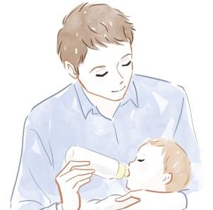 育児をする夫